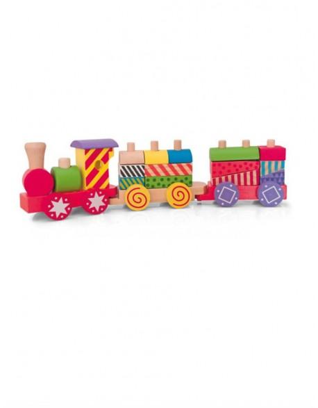 Mažas medinis traukinukas iš kaladėlių