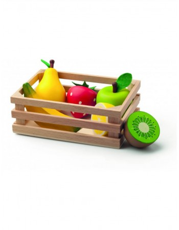 Wooden box with fruits