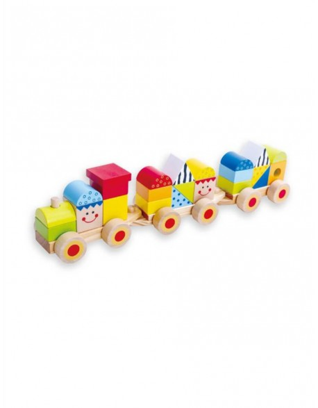 Medinis traukinukas su kaladėlėmis 18mėn+