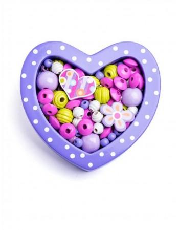 "Mini karoliukų rinkinys ""Heart Violet"""