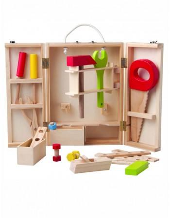 Vaikiški mediniai darbo įrankiai dėžėje