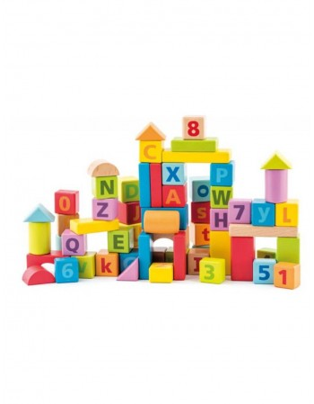 Pastel color wooden blocks with numbers and letters 60 pcs.