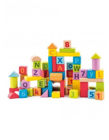 Pastelinių spalvų medinės kaladėlės su skaičiais ir raidėmis 60 vnt. 2+