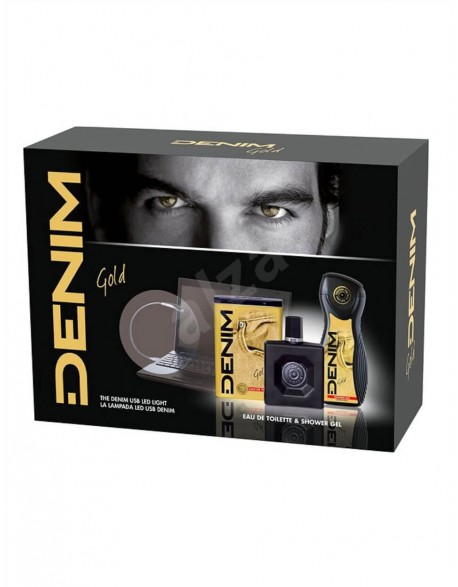 Rinkinys DENIM Gold EDT + Gelis + Led, 100 ml