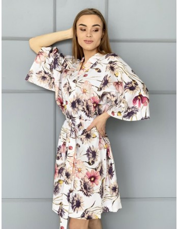 """Satino Kimono """"Rugiagėlės"""""""
