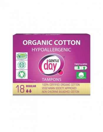 Organic cotton hypoallergenic GENTLE DAY tampons, Regular 18 pcs