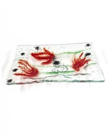 """Glass plate """"Aguonų žydėjimas"""""""
