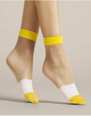 """Women's socks """"Bicolore Yellow"""" 15 Den"""