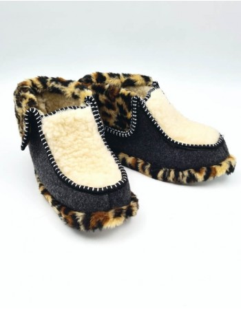 "Natural wool slippers ""Wild Leopard"""