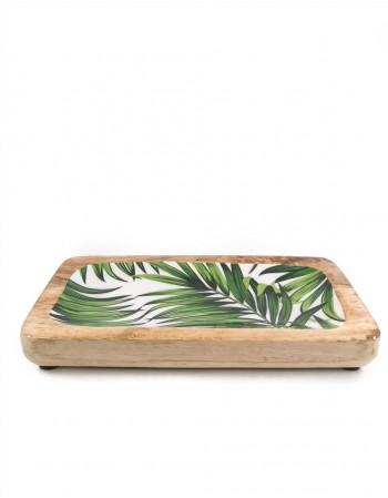 "Wooden plate ""Green Leaf"""