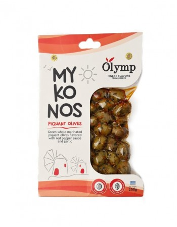 """Žaliosios alyvuogės su kauliukais """"Olymp"""" MYKONOS pikantiškai marinuotos, 250 g"""