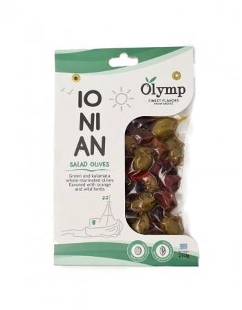 """Žaliosios alyvuogės su kauliukais ir kalamata """"Olymp"""" IONIAN marinuotos, 250 g"""
