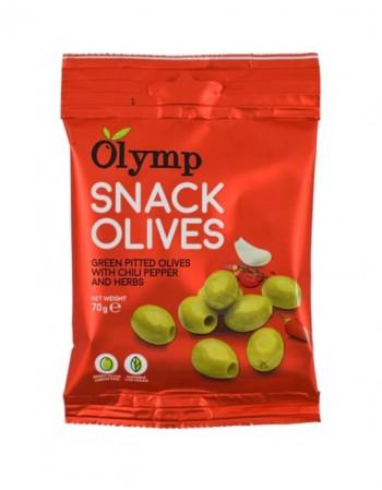 """Žaliosios alyvuogės be kauliukų """"Olymp"""" SNACK su raudonaisiais pipirais ir žolelėmis, 70 g"""