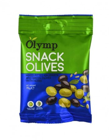 Зеленые оливки и Каламата без косточек Olymp SNACK с зеленью, 70 г