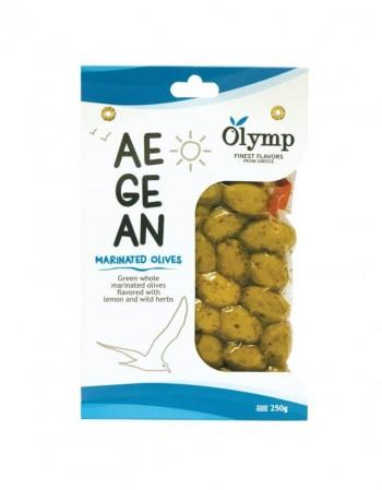 """Žaliosios alyvuogės su kauliukais """"Olymp"""" AEGEAN marinuotos, 250 g"""